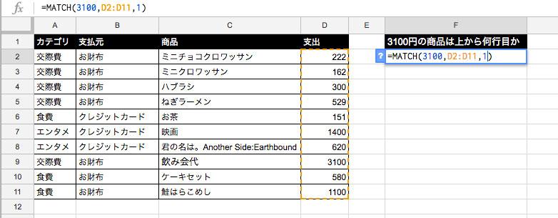 =MATCH(検索する値,検索範囲,照合の型)